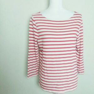 J. Crew Red and White Striped Boatneck Tee Shirt